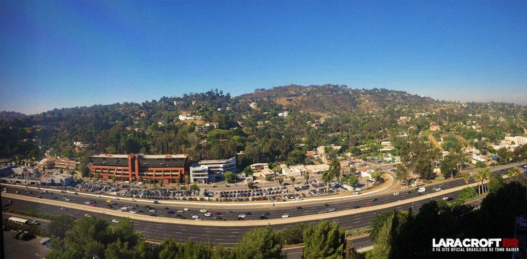 Vista do quarto 1156 do Hilton Los Angeles / Universal City - Hotel dos embaixadores de Tomb Raider na E3 2015