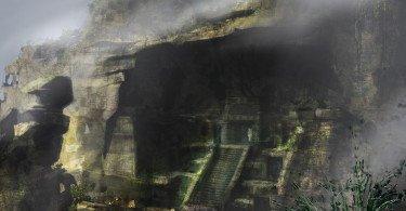 Bolivia temple fog