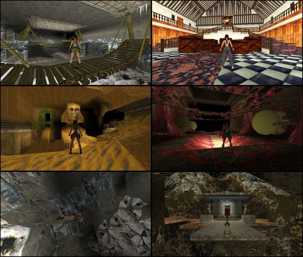 Screens de Tomb Raider 1996 rodando nativamente no Windows.